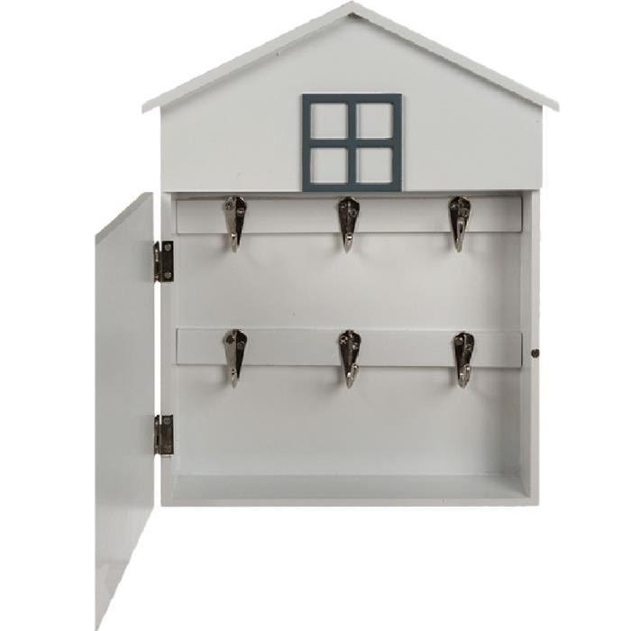 Caisse de clés I LOVE MY HOME en bois - Blanc