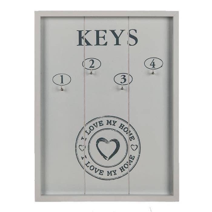 Tableau de clés I LOVE MY HOME en bois - Blanc