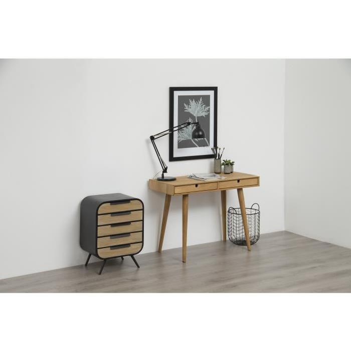 DOLIO Commode de chambre style industriel en métal laqué noir vieilli et pin massif laqué transparent - L 46 cm