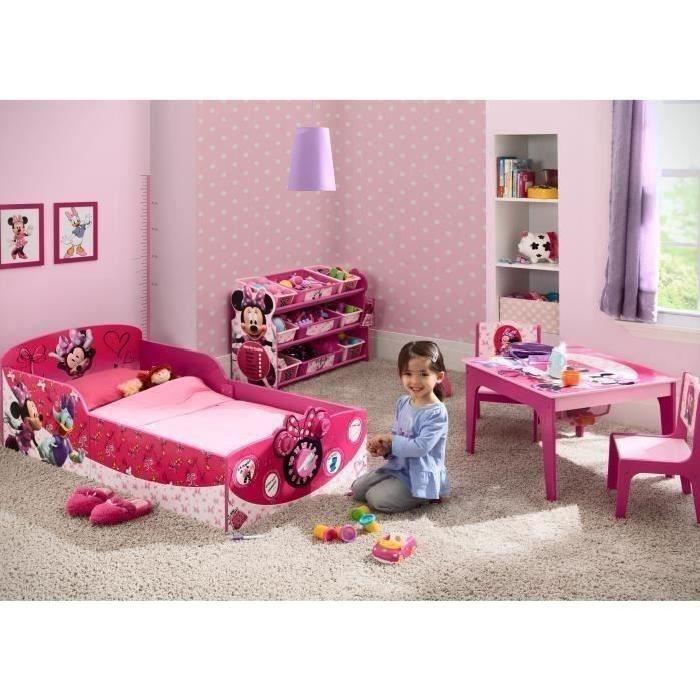 MINNIE - Meuble de Rangement Enfant en Bois avec 9 bacs Plastique - Rose et Multicolore