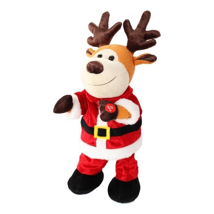Figurine de Noël Peluche renne de Noël danseur automate Rouge 32 cm
