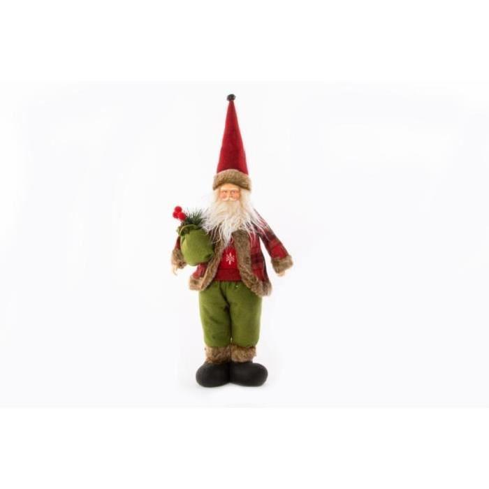 Personnage de Noël Pere Noël en tissu 28x10x48cm