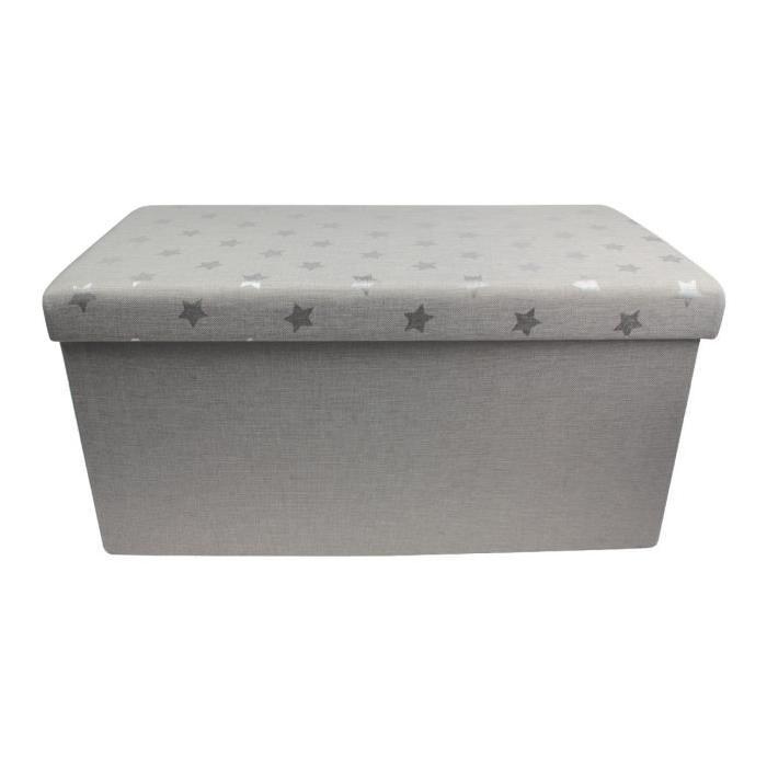 Banc pouf coffre de rangement pliable 76x38x38 cm Gr...
