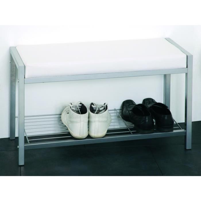 Banc de rangement chaussures Enja 80x48x32 cm aluminium et blanc