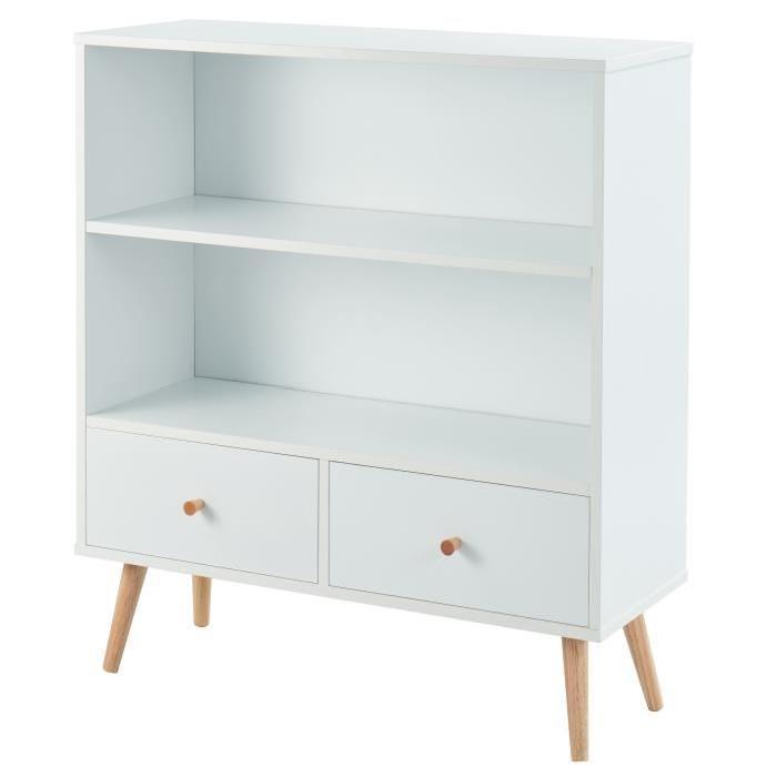 ANNETTE Bibliotheque scandinave décor blanc + pieds en bois eucalyptus - L 80 cm