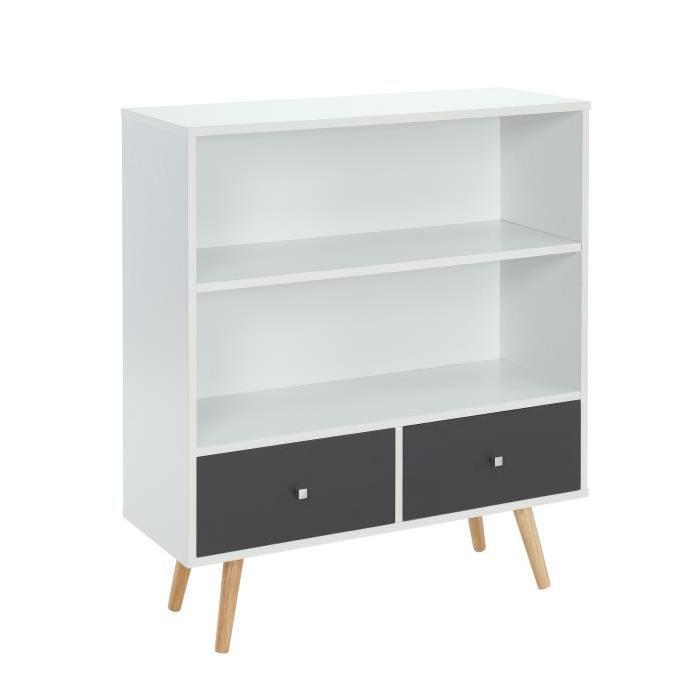 BABETTE Bibliotheque 80 cm - Blanc et gris foncé