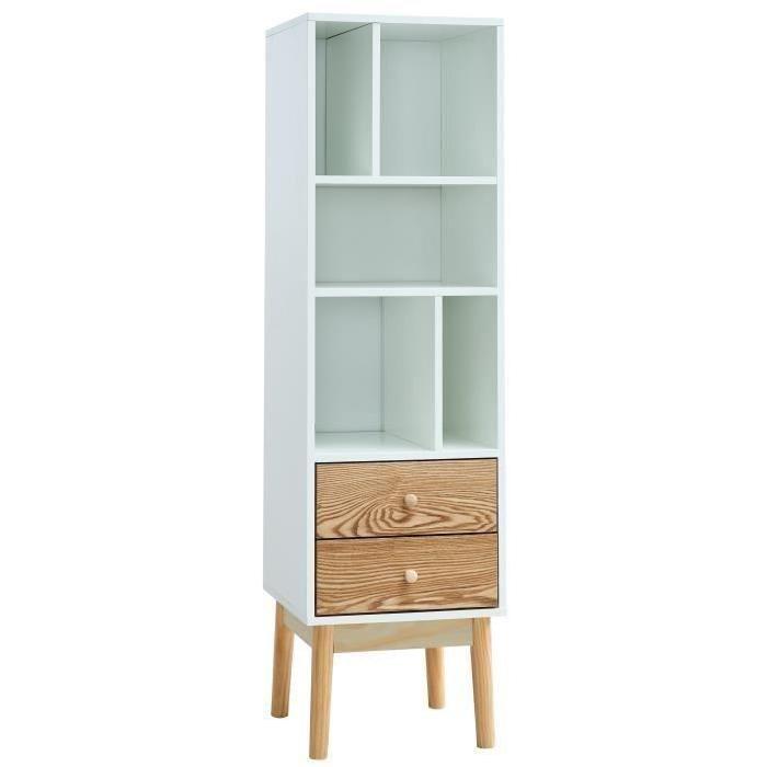 FROZEN Bibliotheque scandinave laquée blanche et décor chene mat + pietement en pin massif - L 40 cm