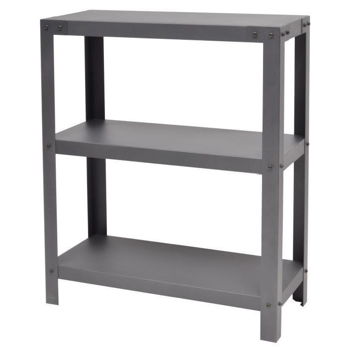 METALIK Etagere meuble style industriel en acier laqué époxy anthracite - L 80 cm