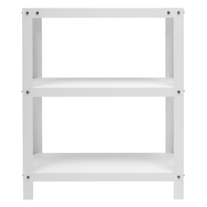 METALIK Etagere meuble style industriel en acier laqué époxy blanc - L 80 cm