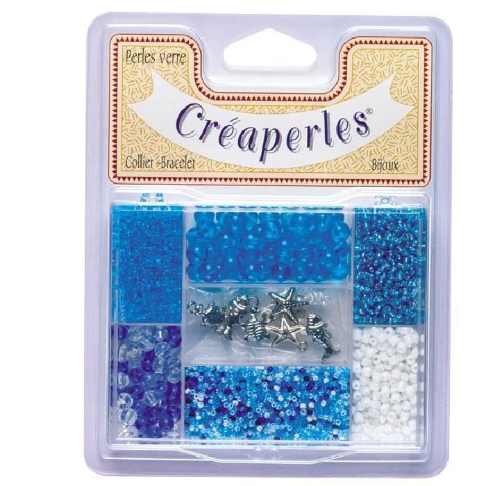 KIMPLAY Kit perles en verre - Bleu