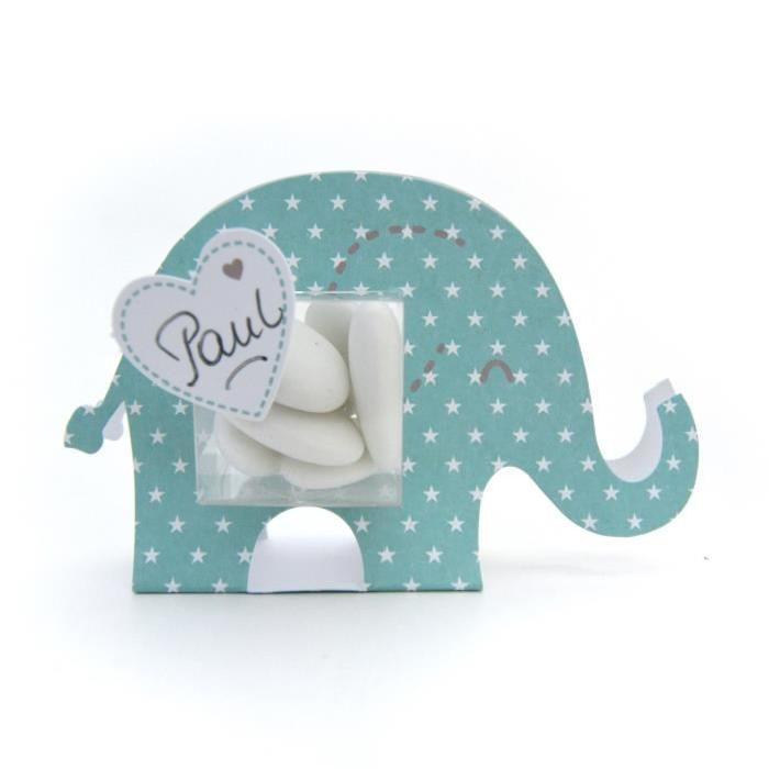 TOGA Lot de 6 boîtes a dragées éléphant - garçon