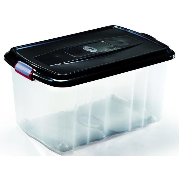 M-HOME BOX SPORTER Bac de rangement a roulettes 45L noir