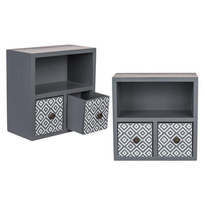 Boîte déco en bois avec 2 tiroirs - Gris