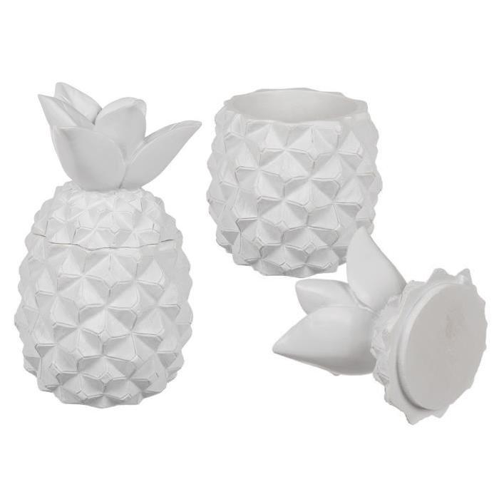 Boîte ananas en polyrésine - 8,5 x 14,5 cm - Blanc