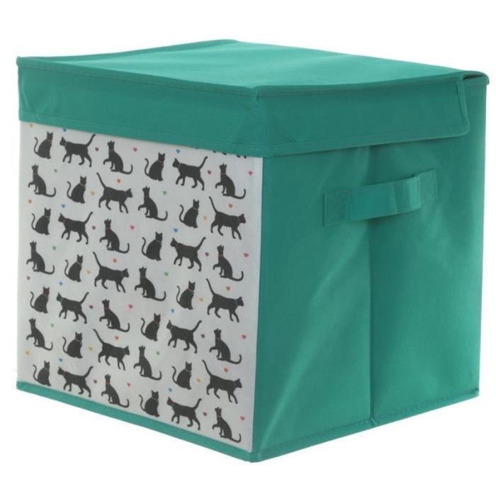Boîte de rangement chat - 28x27x27cm - Toile