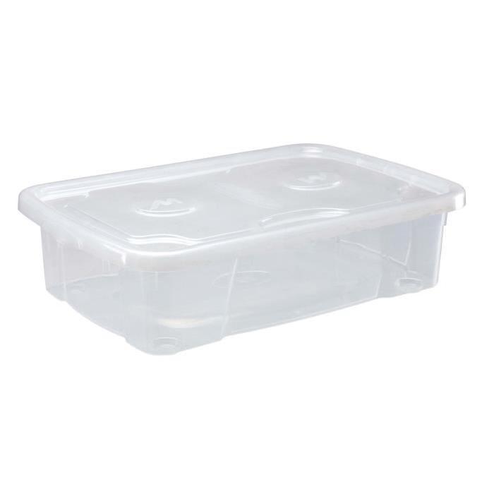 M-HOME SIMPLYBOX Boîte de rangement a couvercle 23,5L transparent