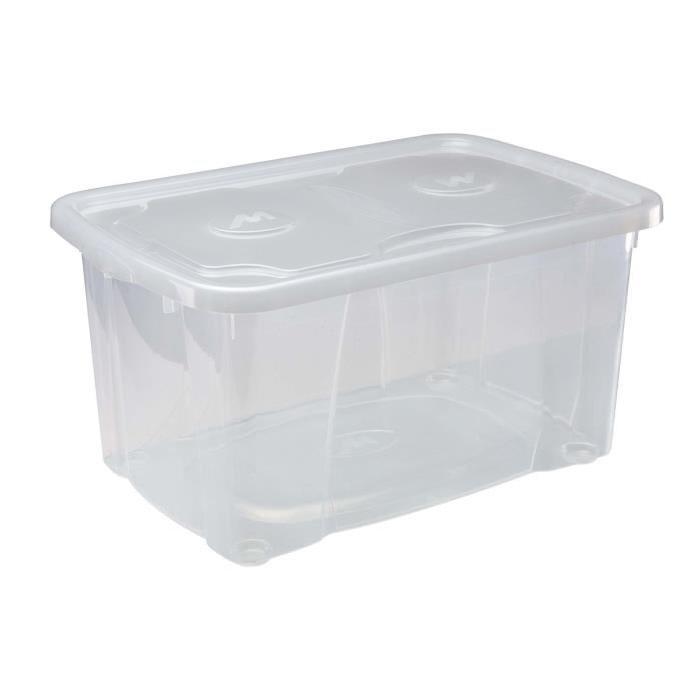 M-HOME SIMPLYBOX Boîte de rangement a couvercle 44L transparent