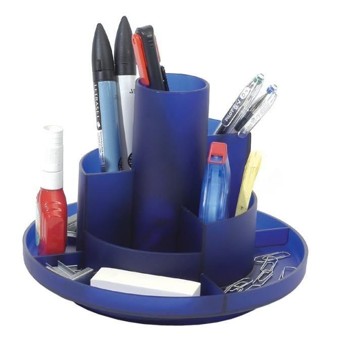ALBA Multipot de rangement rotatif 9 compartiments bleu