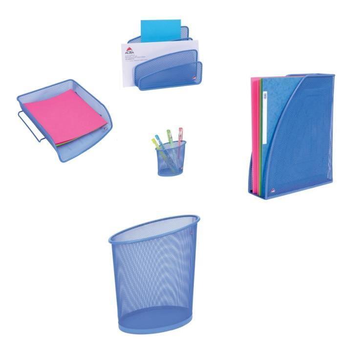 ALBA Lot de 5 accessoires de bureau en métal mesh bleu lavande