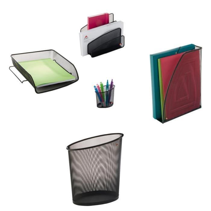 ALBA Lot de 5 accessoires de bureau en métal mesh noir