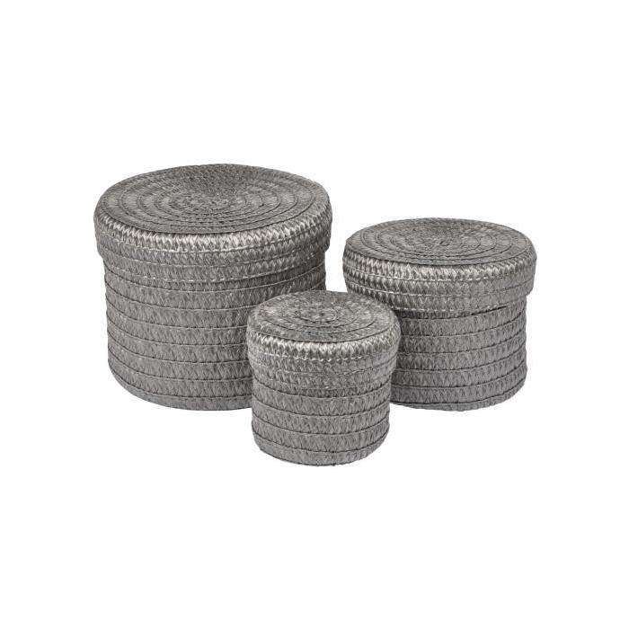 Lot de 3 Boîtes tressées - 10x15x18 cm - Anthracite