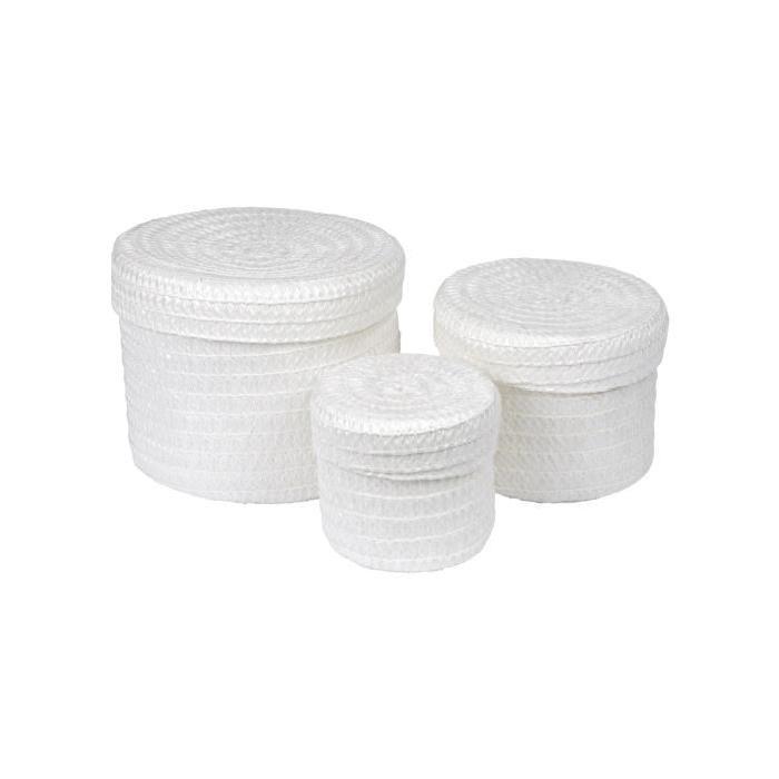 Lot de 3 Boîtes tressées - 10 x 15 x 18 cm - Blanc
