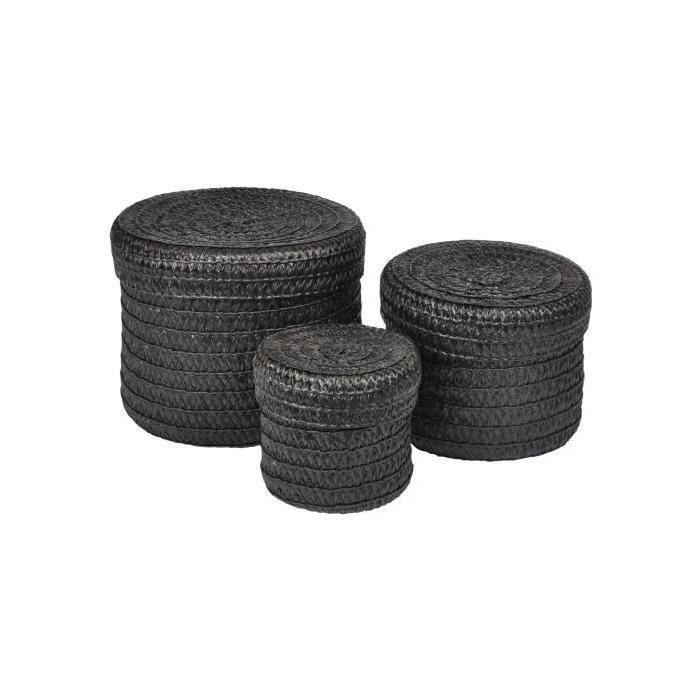 Lot de 3 Boîtes tressées - 10 x 15 x 18 cm - Noir