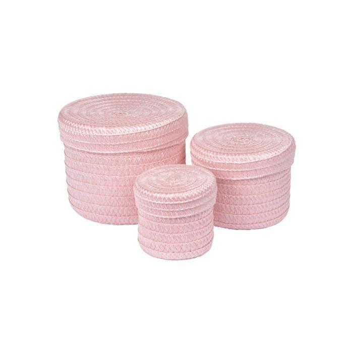 Lot de 3 Boîtes tressées - 10 x 15 x 18 cm - Rose