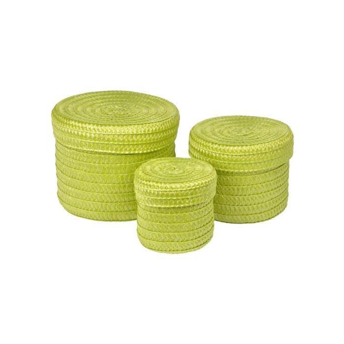 Lot de 3 Boîtes tressées - 10 x 15 x 18 cm - Vert