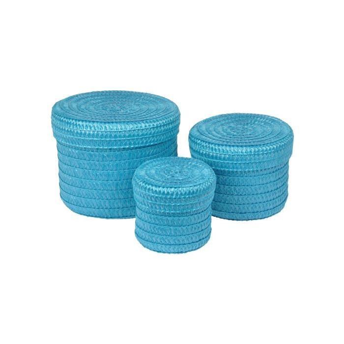 Lot de 3 Boîtes tressées - 10 x 15 x 18 cm - Bleu