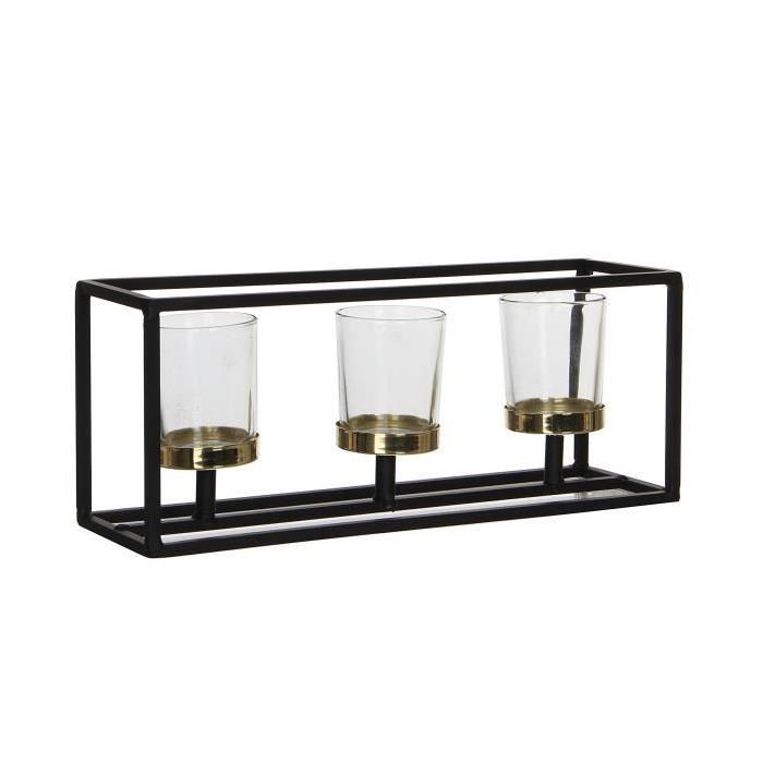 EDELMAN Ciri Porte bougie - Fer - Noir - L30 x l9 x H12 cm
