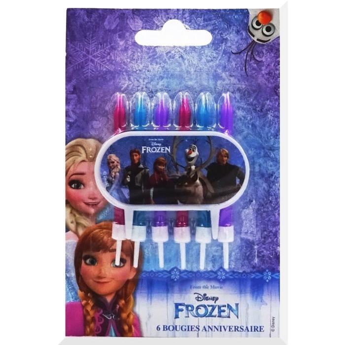 DEVINEAU 6 bougies 6 bobeches avec plaque déco Reine des neiges