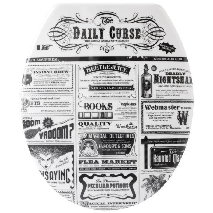 GELCO Abattant WC News noir et blanc