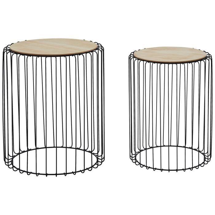 DILMA Lot de 2 tables gigognes style industriel placage bois + pieds métal laqué noir - L 35 x l 35 cm et L 43 x l 43 cm