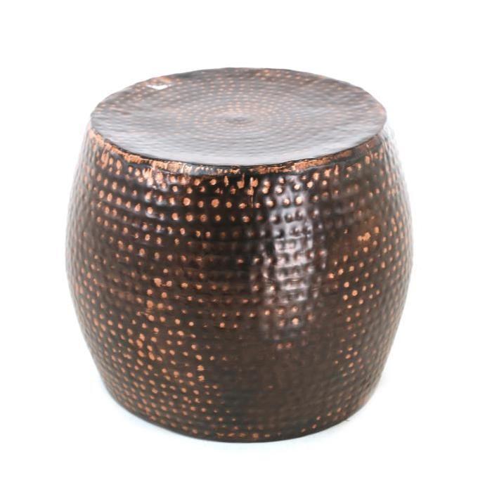 HAMM Bout de canapé  40 cm en acier martelé finition cuivrée