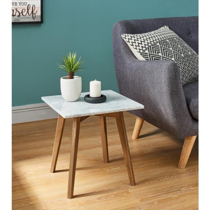 MARBELLA Bout de canapé vintage en marbre + pieds pin massif - L 40 x l 40 cm