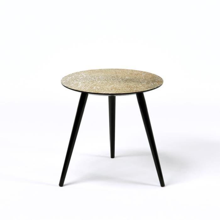 PEPITA Table d'appoint ronde vintage en MDF recouverte de paillettes dorées avec pieds en bois noir - L 40 x l 40 cm