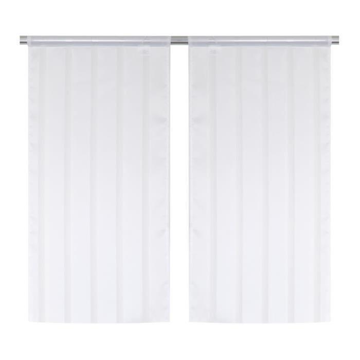 Paire Vitrage Secrete - Passe-tringle - 45 x 90 cm - Blanc