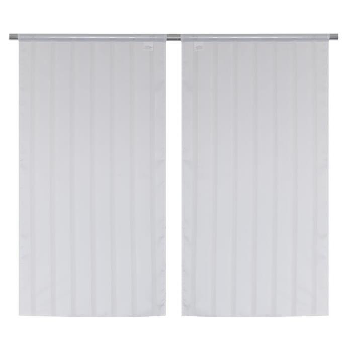 Paire Vitrage Secrete - Passe-tringle - 60 x 120 cm - Blanc