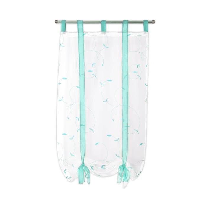 Vitrage Farandole - Passe-tringle - Brodé fleurs - 1 x 60 x 140 cm - Blanc et turquoise