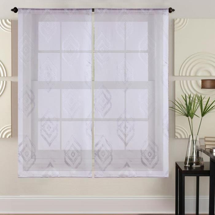 Paire de vitrages - 2x60x120cm - Blanc avec motifs