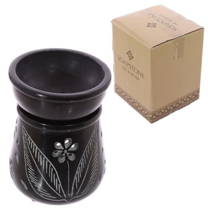 Brűleur a huile en stéatite noir - Fleurs a l'eau-forte