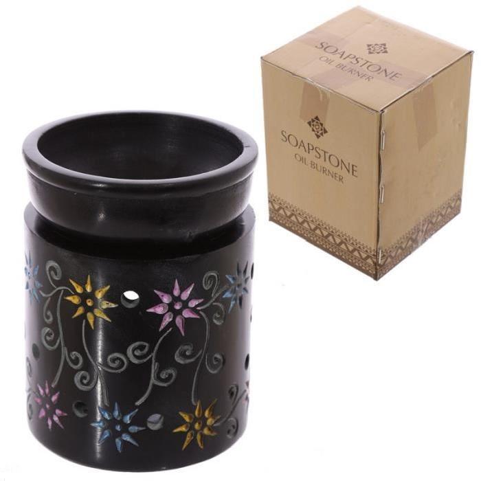 Brűleur a huile en stéatite noir - Fleurs colorés a l'eau-forte