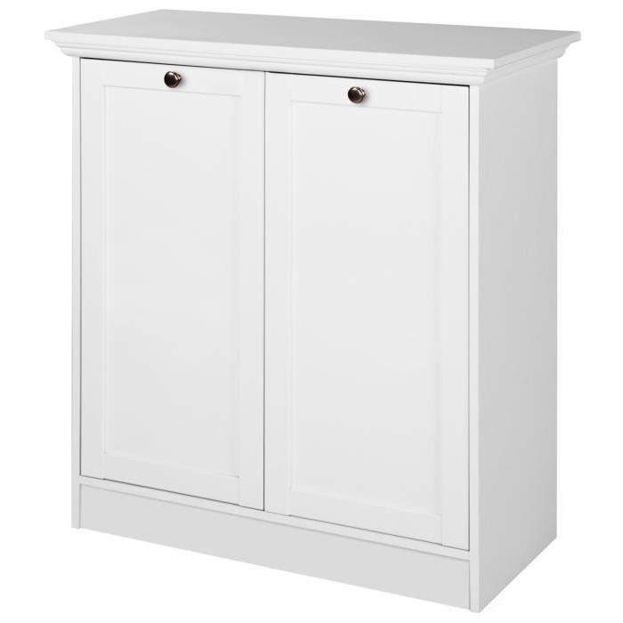 LANDWOOD Buffet classique 2 portes - Blanc - L 80 cm