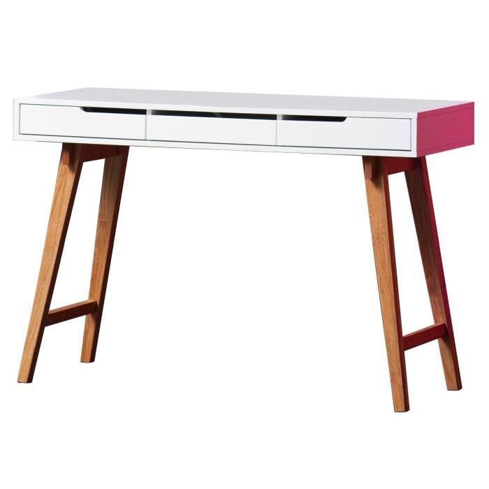ANNEKE Bureau scandinave laqué blanc mat et pieds en bois hetre massif - L 120 cm