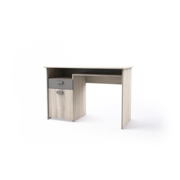 GREG Bureau de chambre contemporain mélaminé décor chene maritime et gris mat - L 110 cm
