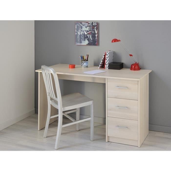 ESSENTIELLE Bureau classique - Décor bois acacia clair - L 121 cm