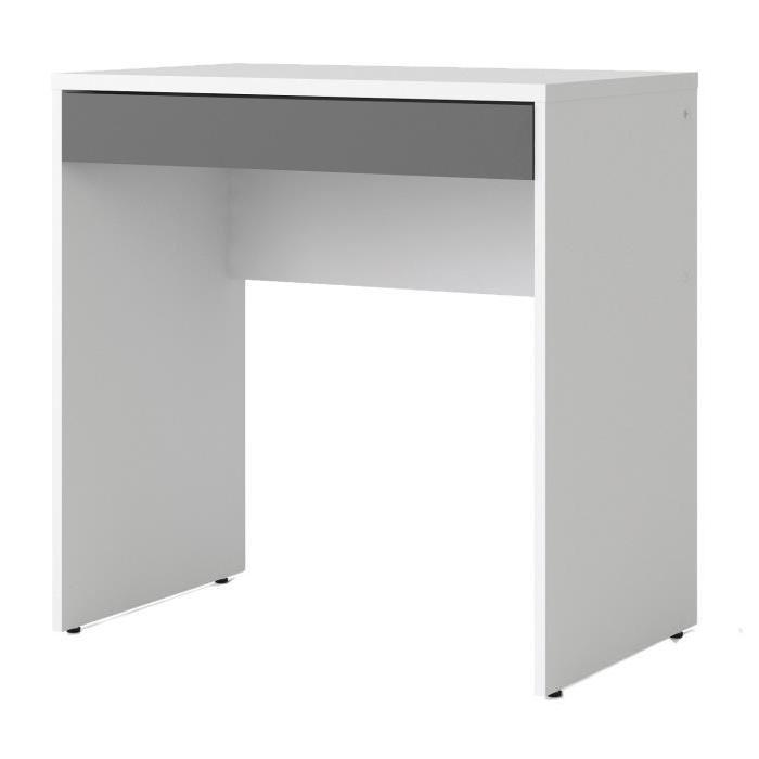 FUNCTION PLUS Bureau contemporain décor blanc et gris - L 75 cm