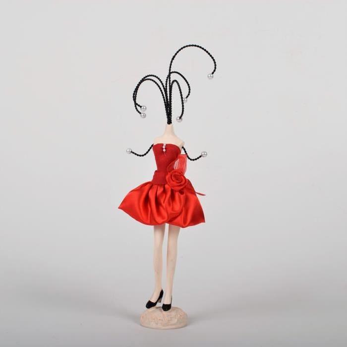 Porte bijoux Mannequin H.37cm Marron,creme,rouge