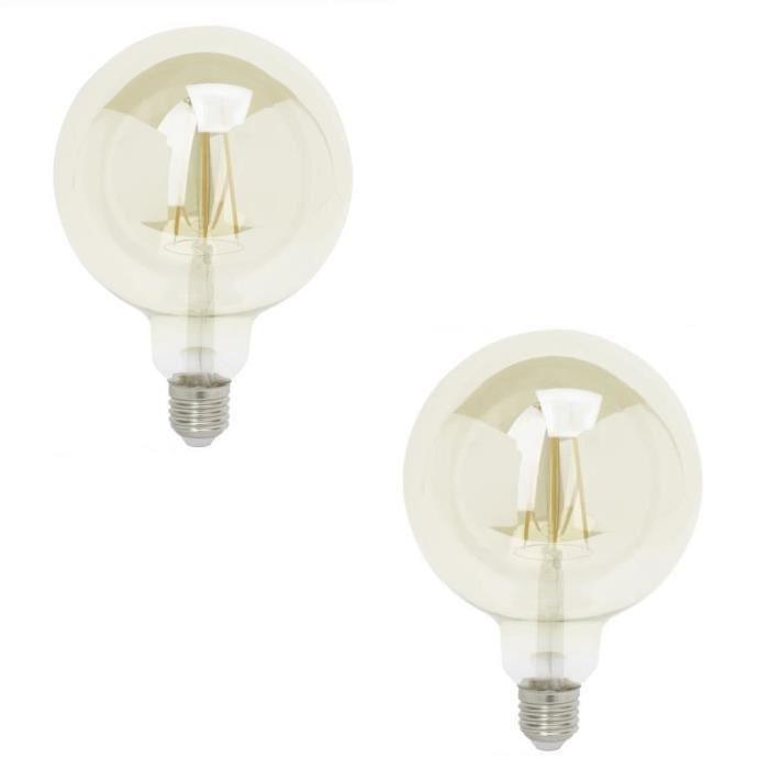 BRILLIANT Lot de 2 ampoules LED filament G95 E27 6 W équivalent a 40 W